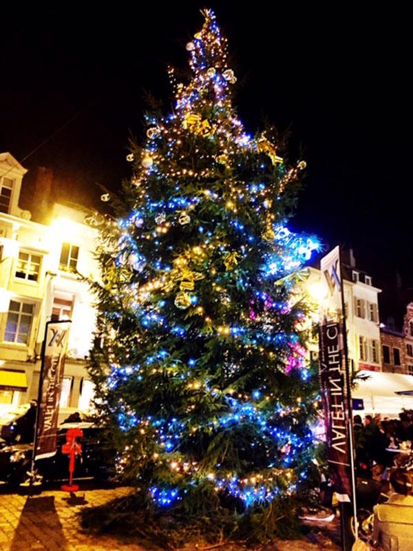 Árbol de navidad en la Plaza del Sablon