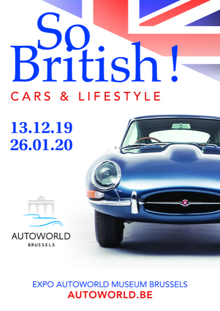 Cartel exposición So British Cars & Lifestyle en Bruselas, diciembre 2019