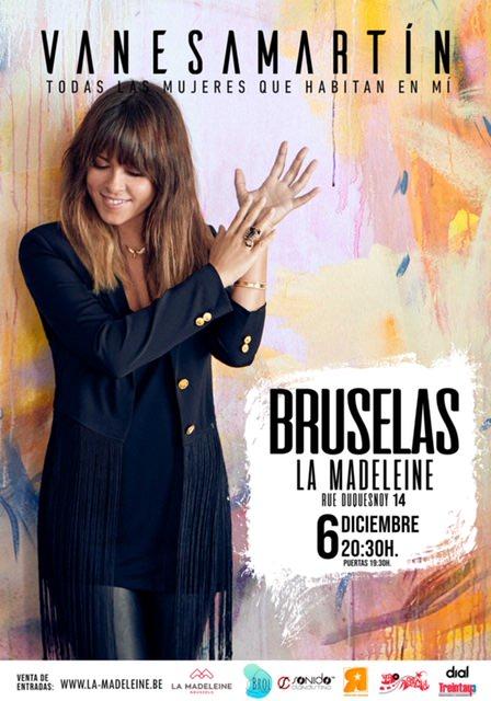 Cartel del concierto de Vanesa Martín en Bruselas, diciembre 2019