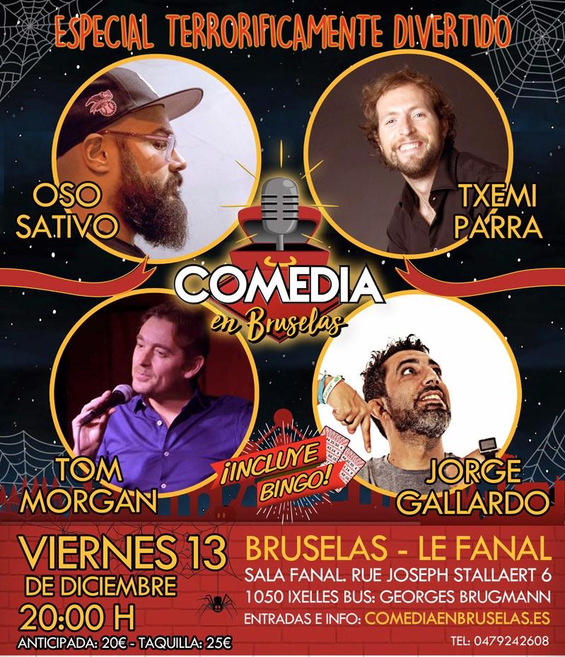 Cartel de Comedia en espaañol en Bruselas, diciembre 2019